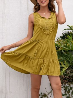 Summer Loose Casual Solid Color Tassels Sleeveless Vest Mini Dress