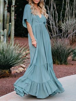 Women V-neck Short Sleeved Solid Color Swing Summer Maxi Dress