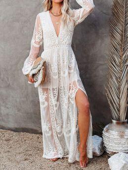 Women Beach Long Dresses Lace Long Sleeve V-neck White Chiffon Summer Maxi Dress