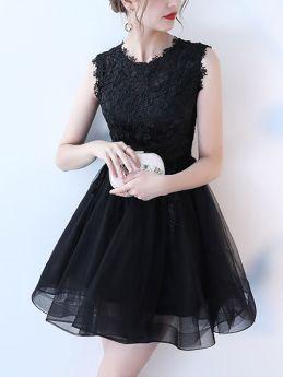 Black Short Evening Dresses Lace Sleeveless Summer Mini Prom Dress