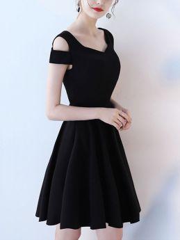 Women Cold Shoulder Short Black Summer Prom Evening Dress