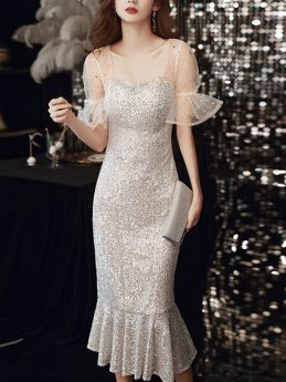 Summer Short Sleeve Silver Sequins Mermaid Midi Prom Evening Dress