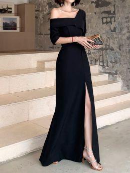 Black Prom Dresses Women Off the Shoulder Split Long Evening Party Dress