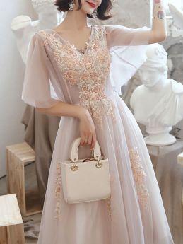 Women Elegant Pink Lace Embroidery Summer Short Sleeve Midi Swing Prom Dress
