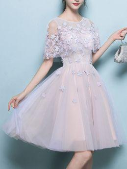 Summer Short Prom Graduation Dress Pink Elegant Ball Gowns Swing Party Evening Dresses