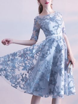 Grey Bridesmaid Dress Lace Embroidery Swing Midi Evening Prom Gowns Dress