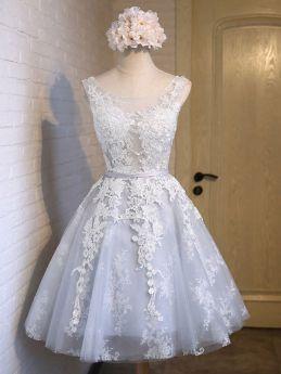 Lace Bridesmaid Dresses Summer Sleeveless Grey Gauze Prom Evening Short Dress