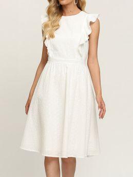White Summer Dresses Sleeveless Ruffle Evening Midi Dress