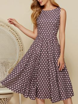 Summer Vintage Polka Dot Brown Retro Hepburn Style Sleeveless Ladies Midi Dress