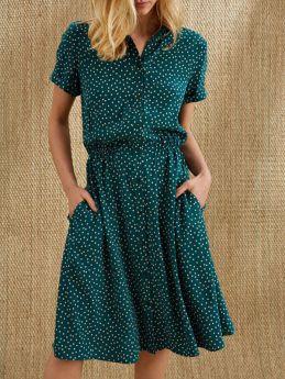 Casual Summer Dresses Polka Dot Short Sleeve Single Breasted Midi Dress
