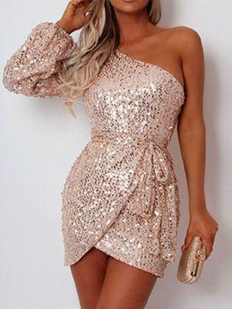 Women Sequin Long Sleeve One Shoulder Irregular Champagne Mini Bodycon Evening Dress