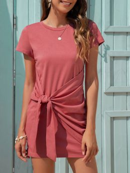 Summer Round Neck Short Sleeve Knotted Short Mini Casual T-shirt Dress