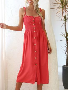 Summer Single Breasted Solid Color Straps Midi Dress