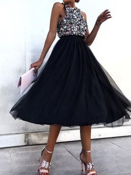 Summer Sleeveless Sequins Party Black Summer Midi Dresses