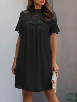 Casual Black Summer Dress Lace Stitching Short Sleeve Loose Shift Dress