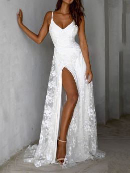White V-neck Strap Lace Evening Dress Summer Backless Maxi Prom Party Gown Dresses