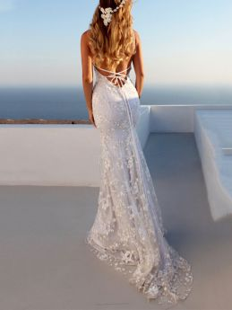 White Lace Long Evening Dress V-neck Summer Backless Straps Maxi Prom Party Dresses