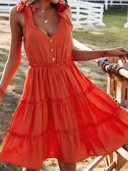 Summer V-neck Solid Color A-line Casual Holiday Dress for Women