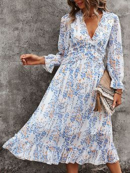 V-neck Floral Printed Summer Dress Womens Long Sleeve Midi Chiffon Dress
