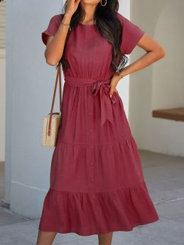 Casual Summer Solid Color Buttons Short Sleeve Midi Dress With Belt