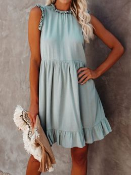 Casual Loose Summer Dreeses for Women Solid Color Ruffled Sleeveless Mini Short Shift Dress