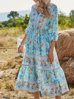 V-neck Bohemian Beach Midi Dress Floral Print Long Sleeve Summer Dresses