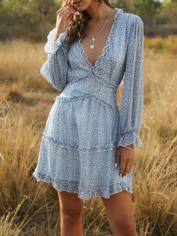 Summer Mini Dress Floral Print Long Sleeve Deep V-neck Ruffled Short Chiffon Dresses