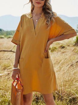 Casual Loose Solid Color V-neck A-line Pocket Short Sleeve Summer Dress