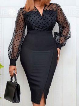 Women V-neck Mesh Polka Dot Long Sleeve Split Black Bodycon Dress