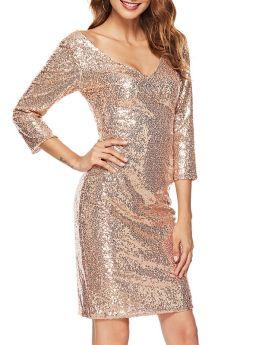 Women V-neck 3/4 Sleeve Sequin Champagne Party Bodycon Midi Dress