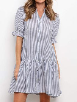 Summer Striped V-neck Ruffled Single-breasted Loose Casual Shirt Dress