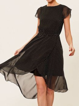 Summer Black Polka Dot Short Sleeved Bohemian Irregular Party Midi Chiffon Dress