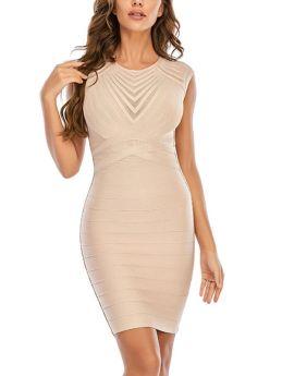Summer Round Neck Striped Sleeveless Apricot Party Club Bodycon Midi Bandage Dress