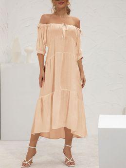 Summer Off the Shoulder Solid Color Long Maxi Dress