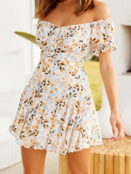 Casual Floral Printed Off the Shoulder Ruffled Short Summer Mini Dress