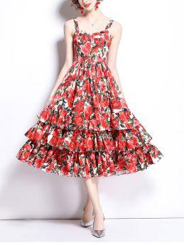 Wedding Guest Dress Red Summer Floral Print Swing Straps Midi Dress