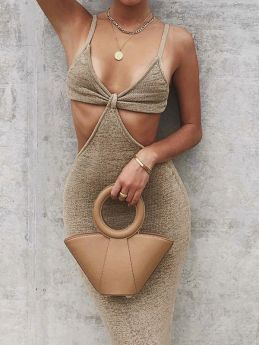 Summer Knitted Solid Color Straps Slip Evening Dress Vocation Holiday Beach Maxi Dress