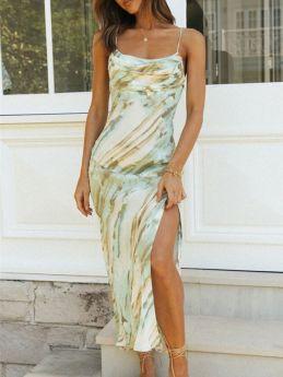 Green Dress Summer Floral Print Sleeveless Straps Slip Long Split Maxi Dress