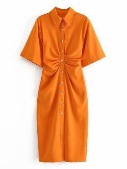 Casual Solid Color Short Sleeve Single Breasted Summer Long Shirt Dress