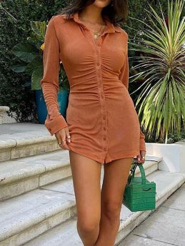 Spring Autumn Casual Velvet Long Sleeve Single Breasted Solid Color Shirt Short Dress