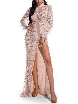 Sexy Retro Long Sleeve See-through Sequin Split Evening Party Maxi Dress
