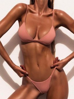 Sweet Pink Swimsuit Triangle Bikini Sets Push Up Strap Padded Solid Bathing Suits