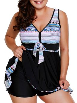 Plus Size Two Pieces Swimwear Geometric Printed Bathing Suits Ruffled Bowknot Swimming Dress