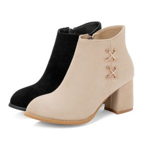 New Winter Suede High Chunky Heel Ankle Boots
