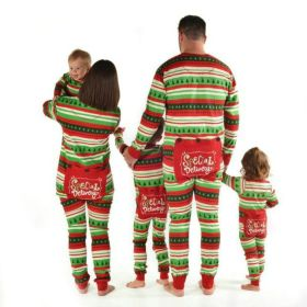 Cute Striped Family Matching Christmas Pajamas Adult Kids Baby Sleepwear