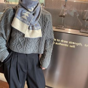 2020 Winter New Geometric Warm Fashion Knitted Long Scarves