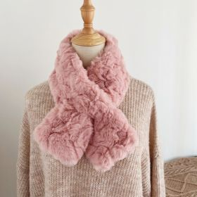 2020 Winter New Furry Scarf Cross Solid Color Warm Scarves for Women