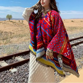 Womens Vintage Ethnic Wide Shawl Colorful Striped Cape Scarf