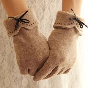 New Women Wool Embroidery Leather Bowknot Warm Gloves