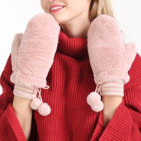 Womens Hanging Ball Gloves Warm Full-finger Mittens with String